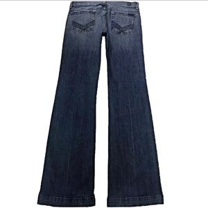 7 For All Mankind Dojo 29X35 Long Flare Blue Jeans